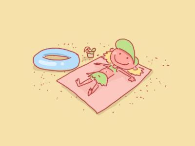 Sunbathing sand sunbathing illustration fun holiday beach