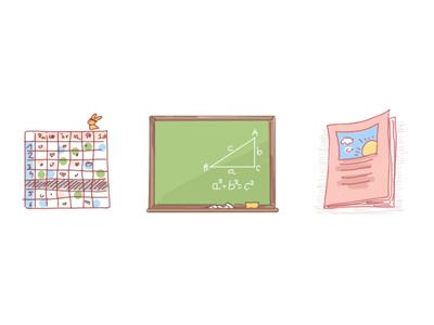 School accessories school accessories lesson plan school illustration blackboard notebook