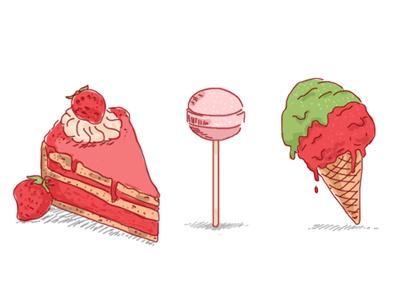 Sweets food cute lollipop icecream cake illustration sweets