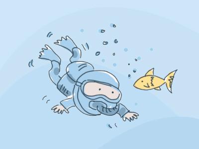 Scuba diver deep blue scuba diver sea blue deep fun cute illustration fish diving water ocean