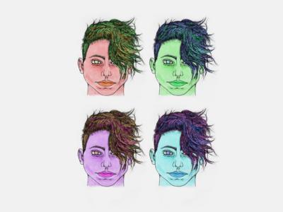 multicoloured faces