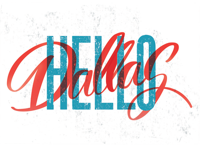 Hello Dallas! vintage type procreate hand lettering design postcard