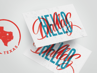 Hello Dallas! vintage type procreate hand lettering design postcard