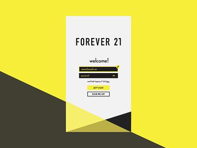 Forever 21 Login app design onboarding login design ux 001 dailyui ui