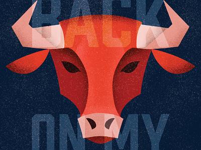 back on my bull vector stipple grain texture digital art illustration procreate