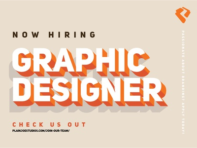 We Are Hiring typography type plainjoe nowhiring midlevel graphicdesigner