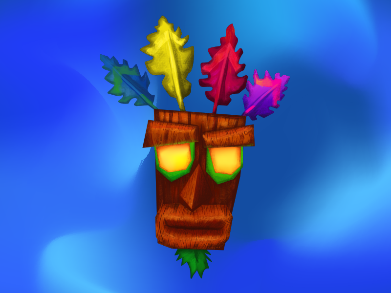 aku aku a crash bandicoot character illustration by eder enciso