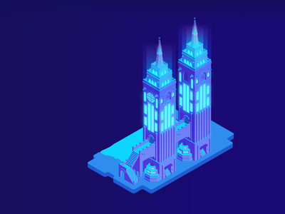 Fantasy Building | Towers towers gradient night texas cedar hill dallas city lights grayscale building