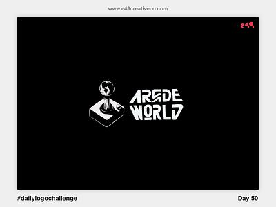 50/50 Arcade World Logo retro world arcade mark brand logo