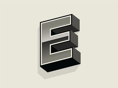 E vintage grayscales grainy retro letterform vintage e