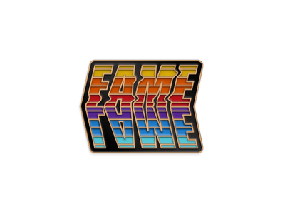 Lame Fame Gold metal Version typography fame lame enamel pin lapel pin pin illustration