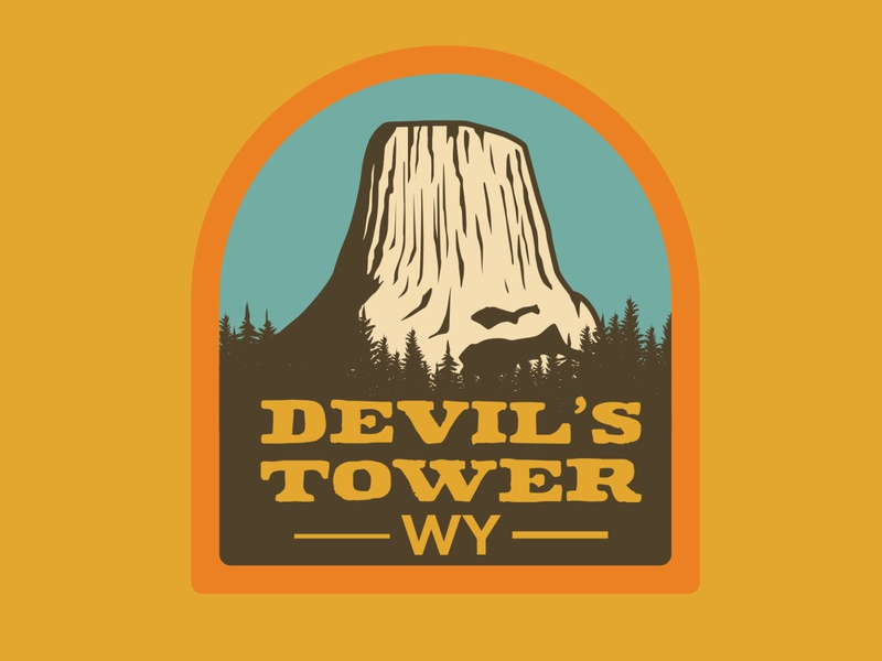 Devil's Tower travel wyoming devils tower illustration outdoor badge adventure wilderness outdoors logo vintage retro patch badge