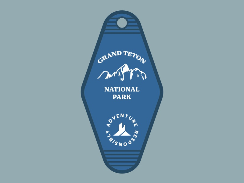 GTNP Key tag motel hotel key tag teton grand teton illustration outdoor badge adventure national park wilderness outdoors vintage retro