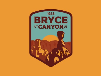 Bryce Canyon nature badge outdoor badge national park wilderness outdoors logo vintage patch retro badge utah bryce canyon