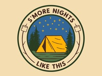 S'more Nights nature logo smore tent camping camp outdoors outdoor badge national park wilderness patch vintage retro badge