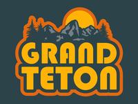 Grand Teton mountain badge wyoming grand teton national park outdoor badge outdoors logo patch retro badge