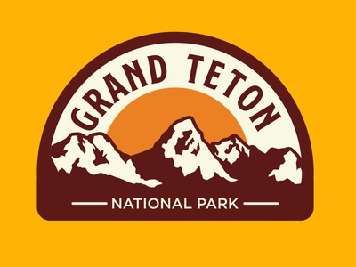 Grand Teton mountains outdoor badge adventure wilderness outdoors vintage patch retro badge national park grand teton