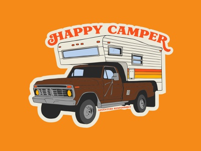 Happy Camper retro camping happy camper camper van outdoor badge national park vintage logo badge patch retro illustration truck camping camper