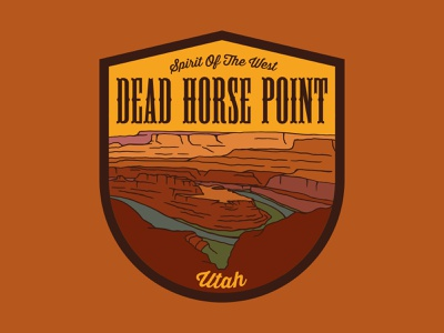 Dead Horse Point desert southwest old west western state park dead horse point utah outdoor badge national park wilderness outdoors logo vintage patch retro badge