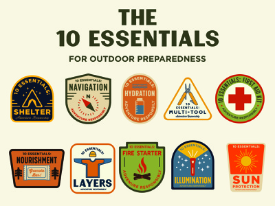 Ten Essentials leave no trace outdoor logo ten essentials illustration outdoor badge national park wilderness outdoors logo vintage patch retro badge