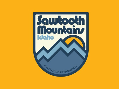 Sawtooth Mountains mountains idaho sawtooth adventure illustration outdoor badge national park wilderness outdoors retro vintage patch badge