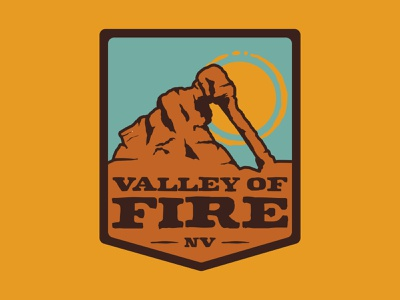 Valley Of Fire desert nevada valley of fire outdoor badge adventure wilderness outdoors logo vintage patch retro badge