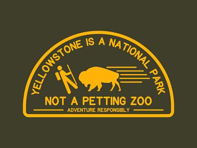 Not A Petting Zoo buffalo retro logo outdoor logo illustration outdoor badge national park wilderness outdoors logo vintage patch retro badge yellowstone