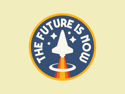 The Future retro space space badge space vintage patch retro badge