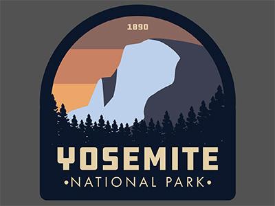 Yosemite half dome vintage retro patch sticker cali yosemite national park california