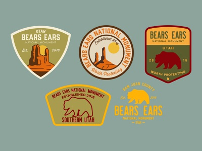 Bears Ears Badges national monument bears ears southern utah design illustration adventure outdoors wilderness sticker utah logo vintage retro patch badge