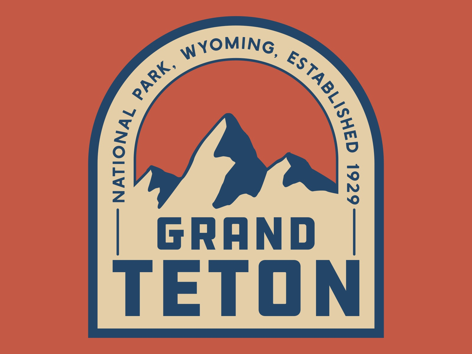 Grand Teton Patch grand teton tetons mountains design outdoors wilderness national park logo vintage retro patch badge