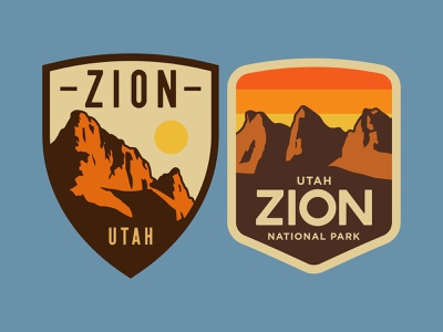 Zion Hat Patch nps desert illustration southern utah adventure sticker outdoors wilderness utah national park logo vintage retro patch badge