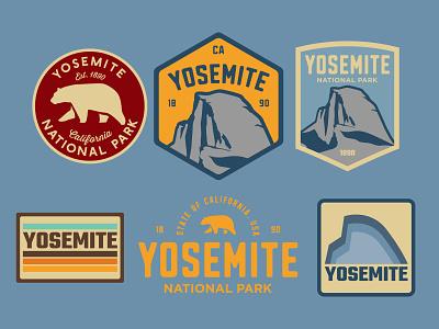 Yosemite Badges bear half dome nps yosemite california illustration mountains adventure wilderness outdoors national park logo vintage retro patch badge