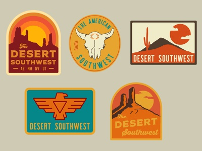 Southwest Badges national monument desert southern utah outdoor badge nps mountains illustration icon design sticker utah adventure wilderness outdoors national park logo vintage retro patch badge