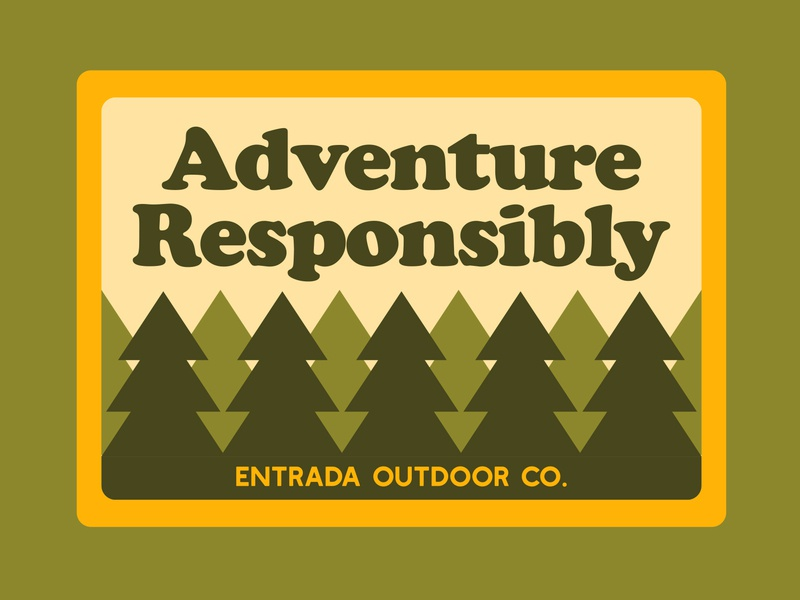 Adventure Responsibly label national monument nps icon typography branding outdoor badge mountains illustration design sticker adventure wilderness outdoors national park logo vintage retro patch badge