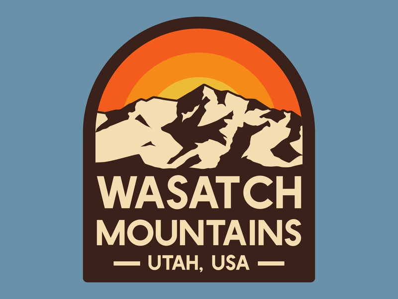 Wasatch wasatch label branding outdoor badge mountains nps illustration icon design sticker adventure utah wilderness outdoors national park logo vintage retro patch badge