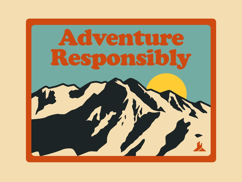 Adventure Responsibly Pt 2 branding national monument typography outdoor badge mountains nps illustration icon design sticker adventure utah wilderness outdoors national park logo vintage retro patch badge