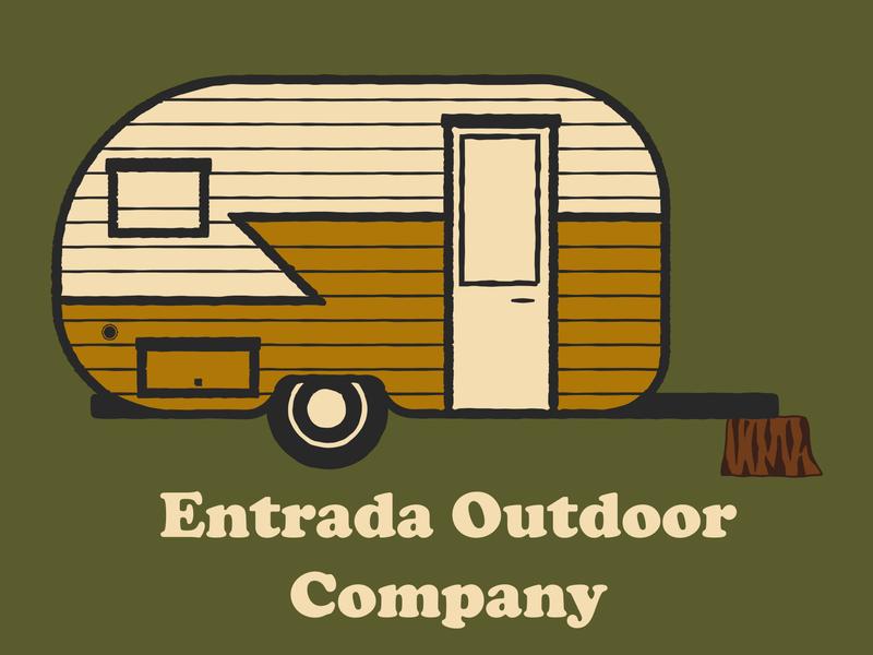 Camper Van outdoor badge camping campervan camper illustration utah adventure wilderness outdoors national park logo vintage retro patch badge