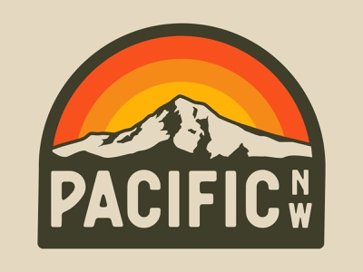 Pacific NW mt hood pacific northwest oregon design adventure wilderness outdoors national park logo vintage retro patch badge