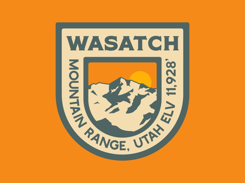 Wasatch crest retro badge wasatch mountains outdoor badge illustration adventure wilderness outdoors logo vintage retro patch badge