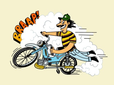 Braap! smoke motor puch cartoon hat h bike moped braap