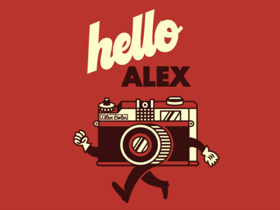 Hello Alex mascot hand lettering script badge logo photography film camera