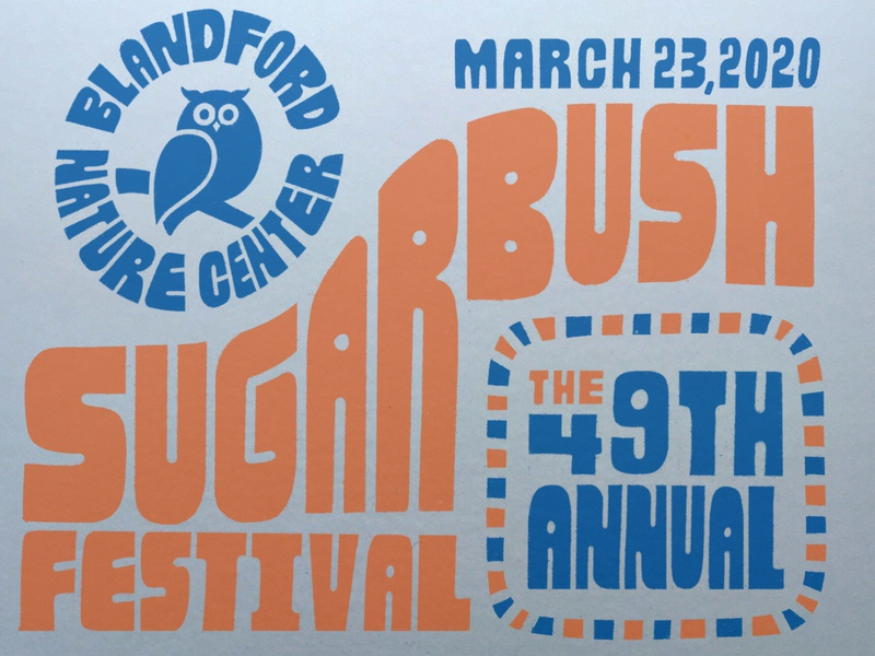 Sugarbush Festival type hand letter poster owl syrup maple sugar