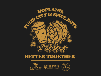 Better Together vintage mascot character hop taco brewery beer