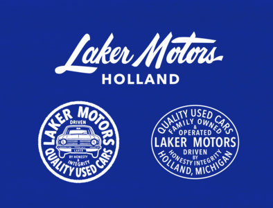 Laker Motors grill script type badge lettering auto car motors laker