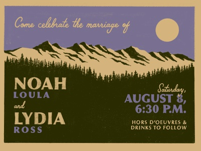 Noah & Lydia invitation printing screen hand lettering postcard trees mountains invite wedding