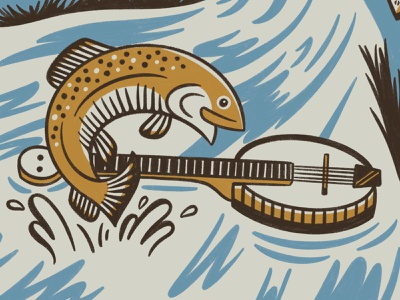 Michigan Academy of Folk Music Illustration music folk nature river guitar mandolin banjo turtle robin dear trout fish michigan