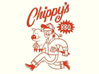 Chippy's BBQ lettering city kansas badge logo brand script type bar-b-que barbeque
