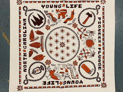 Pioneer Plunge Bandana fox deer snake fish bird flower pattern wilderness nature carolina north bandana life