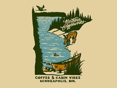 Northern Coffeeworks script vintage lettering forest waters boundary moose loon minnesota